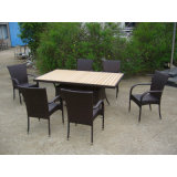 Jardim Outdoor Rattan Móveis Mesa de jantar 4 cadeiras (FS-2055 + FS-2057)