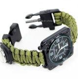 Boussole extérieure de Flintstone de corde tricotée par Paracord de boucle de bracelet de survie