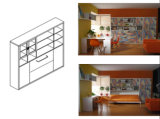 Sepsion خزانة الكتب وظيفية مع Horizotal إمالة سرير FJ-52