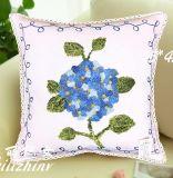 Algodão Algodão Lã Bordado Decoração Almofada Capa Travesseiro Caso Flor Design Pastorale Estilo com fita