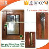 Ventana modificada para requisitos particulares del marco de madera sólida de la talla, ventana de aluminio del toldo de la rotura termal revestida de madera sólida