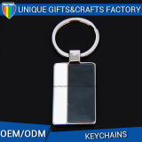Accessoires colorés de trousseau de clés en métal de rectangle de logo de remplissage de cadeau de promotion