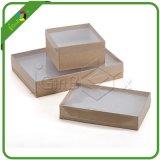 Изготовленный на заказ бумага Brown логоса коробка 2 частей с окном