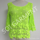 Mode Cotton Lace de dames 3/4 Sleeve Crochet Blouse (BL-193)