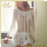 Chemise de nuit sans bretelles de lacet de lingerie sexy blanche de point de vue