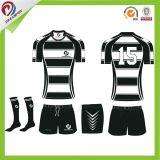 As vendas por atacado Sublimated o costume listrado clube personalizado de Jersey do rugby da equipe