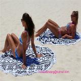 Toalla 100% de playa impresa círculo redondo del algodón con los ajustes de la borla