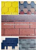 3タブのアスファルト屋根の鉄片/SelfのISO (12のカラー)の付着力の多彩なガラス繊維の屋根瓦の/Bitumenの屋根ふき材料