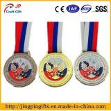 2017wholesale高品質第2および3Dロゴの金属多彩なリボンが付いているメダル彫版メダルを遊ばす