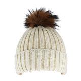 Sombrero de encargo de la gorrita tejida del Slouch de las mujeres blancas con POM POM