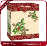 Weihnachtssackt papiergeschenk-Beutel-Kraftpapier-Papiertüten-Geschenk Einkaufen-Beutel für Weihnachten mit Griff und dem heißen Stempeln ein