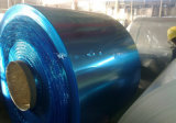Bobine en aluminium avec le film bleu enduit