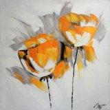 Померанцовый декоративный цветок на картине маслом