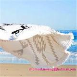 Tovagliolo 100% di spiaggia stampato cerchio rotondo del cotone con i testi fissi della nappa