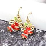 Brincos de gota de cristal de Bels de Natal da cola Epoxy vermelha do esmalte