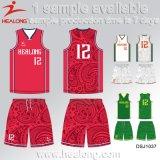 Healongのスポーツ・ウェアの染料の昇華物の大学バスケットボールジャージー