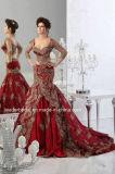 Rouge Dentelle Sirène Robes de mariée à manches longues robe de mariée Wdo88