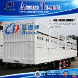 Semi Aanhangwagen van uitstekende kwaliteit van de Staaf van het Pakhuis van de Staak van de Omheining van het Vervoer van het Vee van 3 As 50-60t de Trapsgewijze (LAT9281CLXY)