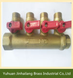 Vernikkelde Brass Water Manifold Valve met T Handle