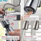 O Faucet da cozinha, único punho escovado do aço inoxidável retira o Faucet do misturador da cozinha do pulverizador