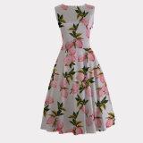 Rétro robe d'usager sexy inspirée d'impression de paon de citron pour des femmes