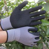 Gant en nylon de travail de nitriles de sûreté de gants d'enduit de paume de finition de Sandy