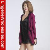 여자의 레이스와 에뮬레이션 실크 겉옷 나이트 가운 Sleepwear 복장