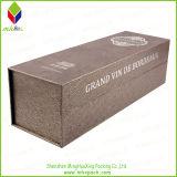 Caixa de papel de empacotamento Foldable luxuosa do vinho do presente com ímã