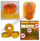 Cortina com nervuras alaranjada do PVC do Anti-Inseto para a indústria alimentar