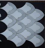 Mosaico mezclado blanco del jet de agua del diseño de la escala de pescados blancos de Thassos Carrara