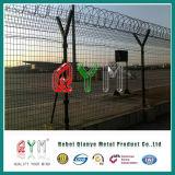 Triangle dépliant la frontière de sécurité soudée de sécurité dans les aéroports avec le poste de Y
