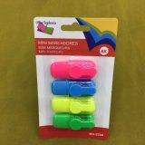 Crayon lecteur de barre de mise en valeur de 6 couleurs avec l'emballage de carte, crayon lecteur fluorescent