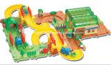 El juguete de la pista bloquea el juguete fijado los trenes