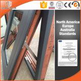 Guichet en aluminium en bois solide de Clading de tente du Canada Toronto avec la conformité de la CE, guichet en bois avec le revêtement en aluminium extérieur