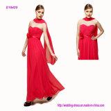 Preiswerte Großhandelsfalte-trägerloses Abend-Kleid mit einer Bogen-Taille und einem langen flüssigen Schal