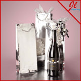 Vin de papier métallique d'hologramme d'emballage de bouteille de vin l'euro met en sac des sacs en papier de clinquant pour le vin