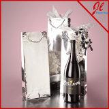 Papel metálico Botella de vino Euro Tote Bolsas de vino Holograma Bolsas de papel de aluminio para el vino