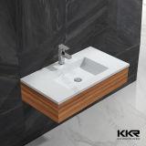 Lavatório de lavatório de gabinete de superfície sólida de design branco para venda