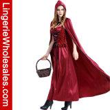 Темно зашнуруйте вверх Costume Cosplay меньших женщин масленицы партии Halloween красного клобука Riding