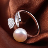 Anel de água doce da abertura da prata esterlina da borboleta da pérola da forma das mulheres