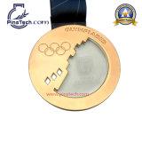 De aangepaste Medaille van de Looppas met Antiek Zilver beëindigt het Lint van de Serigrafie van de Hulp