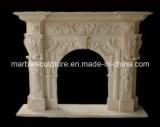 Бежевая каминная доска Surround камина мрамора скульптуры (SY-MF037)