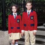 Blazer secondaire d'uniforme scolaire de l'hiver rouge fait sur commande