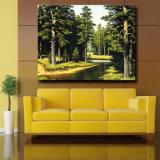 Het groene Olieverfschilderij van het Landschap bij het Schilderen van de Decoratie van het Canvas, van de Boom & van de Rivier op Canvas