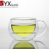 Tazza di vetro doppia della nuova di stile chiavetta di vetro dell'acqua potabile con la tazza doppia ecologica su ordine di vetro di birra del ghiaccio regalo creativo/della maniglia