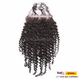 ペルーの毛の上の閉鎖の加工されていないバージンの毛の完全なレースの閉鎖