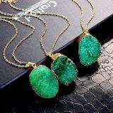 Oro pendiente de piedra cristalino del collar de Natyral del verde de la joyería de la manera plateado