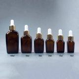 Quadratische Brown-Glas-wesentliches Öl-Flasche mit Tropfenzähler (NDB06)