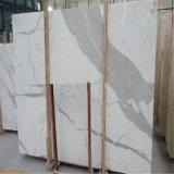 最もよい品質のイタリアの大理石はCalacattaの白い大理石の平板に値を付ける