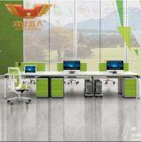 Estação de trabalho reta do escritório de 6 povos com pé de Matal